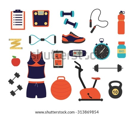 Fitness and sport tools and elements illustration. Vector flat design icons set with dumbbells sport shoes sportswear stopwatch scales - stock vector