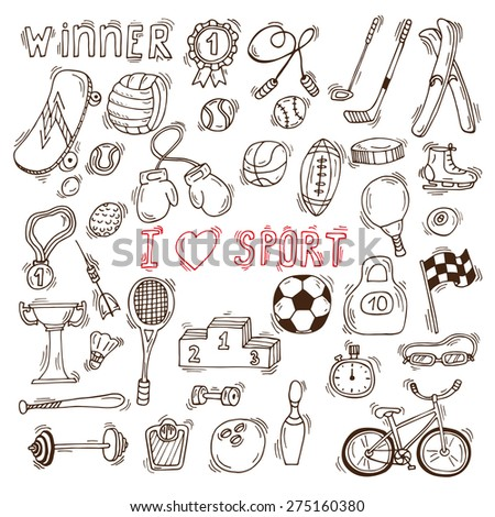 Fitness and sport vector elements. Hand drawn sport doodle icons. Vector illustration - stock vector