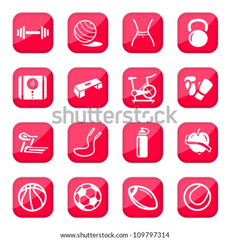 Fitness and Sport vector icon set for web and mobile. All elements are grouped. - stock vector