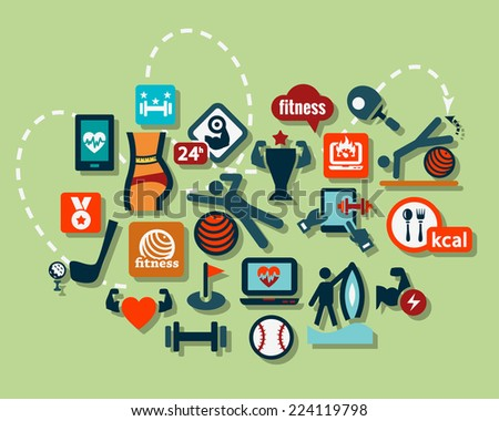 Fitness and Sport vector icons for web and mobile. All elements are grouped. - stock vector