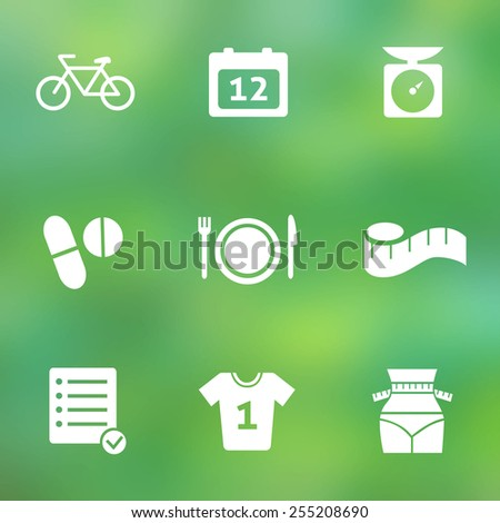 Fitness and Sport vector icons for web and mobile.  Flat style icons on blurred background. Vector illustration. - stock vector