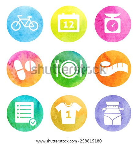 Fitness and Sport watercolor icons for web and mobile.  Vector. Set 1 - stock vector