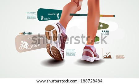 Fitness and sports statistics, infographics with sport shoes, run statistic - stock vector