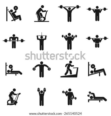 Fitness and Weight Training Icons- Illustration - stock vector