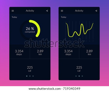 fitness app ui ux design template stock vector royalty free