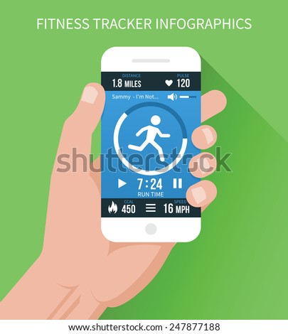 Fitness app with a lot of features on a mobile phone in hand on a green background. Vector illustration - stock vector