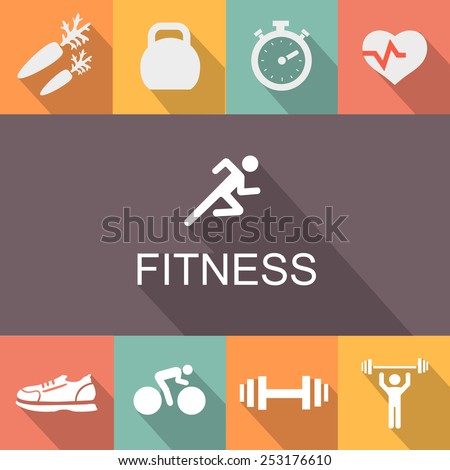 Fitness background and icons in flat  style. - stock vector