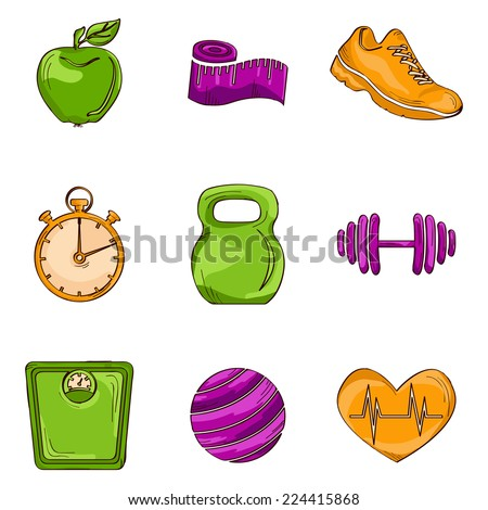 Fitness bodybuilding diet colored sketch icons set with kettlebell weight stopwatch isolated vector illustration - stock vector