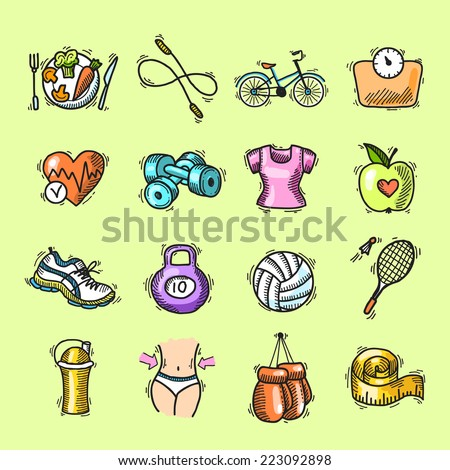 Fitness bodybuilding diet trainer exercise colored sketch decorative icons set isolated vector illustration - stock vector