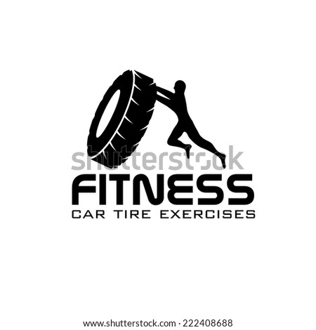 fitness car tire exercises vector design template - stock vector