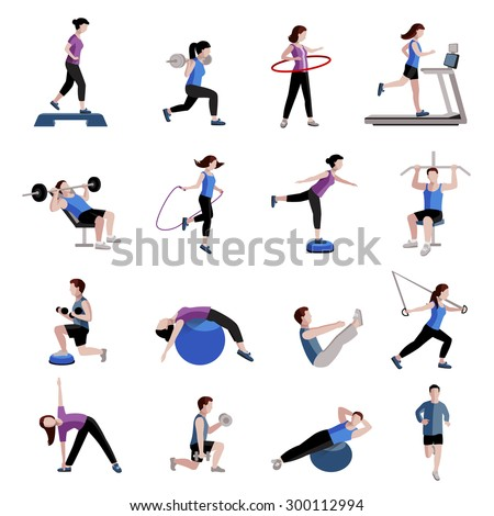 Fitness cardio exercise and equipment for men women two tints flat icons collections abstract isolated vector illustration - stock vector