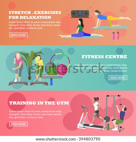Fitness center horizontal banners set. Sport equipment and accessories. Training concept vector illustration. People running on treadmill, yoga, working out. - stock vector