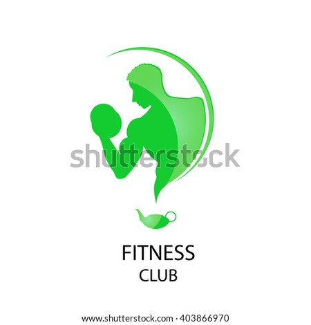 fitness club green icon - stock vector