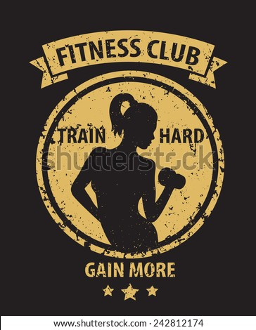 Fitness Club grunge emblem with athletic girl vector illustration, eps10, easy to edit - stock vector