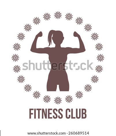 Fitness club logo with woman silhouette.Woman shows her muscles. Vector illustration. Vintage brown color. Isolated on white background. - stock vector