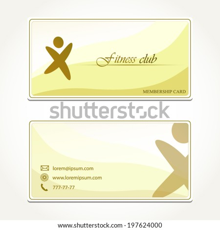 Fitness Club Membership Card Concept Design Stylish Green And Yellow  Template  Club Membership Card Template