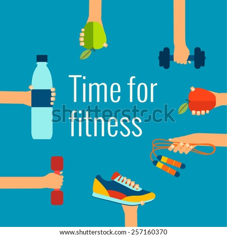 Fitness concept flat Isolated vector illustration and modern design element - stock vector