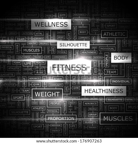 FITNESS. Concept illustration. Graphic tag collection. Wordcloud collage. Vector illustration.