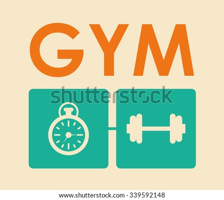 Fitness concept with gym icons design, vector illustration 10 eps graphic. - stock vector