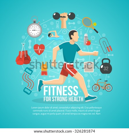 Fitness concept with running man and sports equipment vector illustration - stock vector
