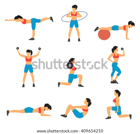 Fitness Decorative Flat Icons Set - stock vector