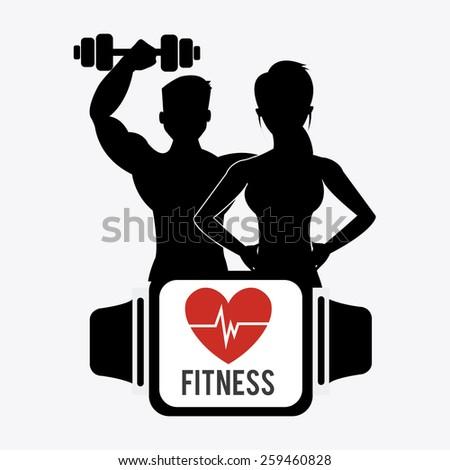 Fitness design over white background, vector illustration. - stock vector