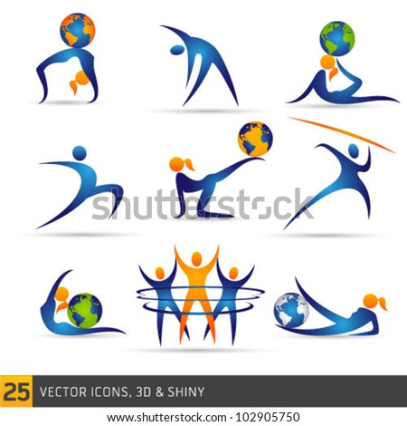 fitness elements and globe ball - stock vector