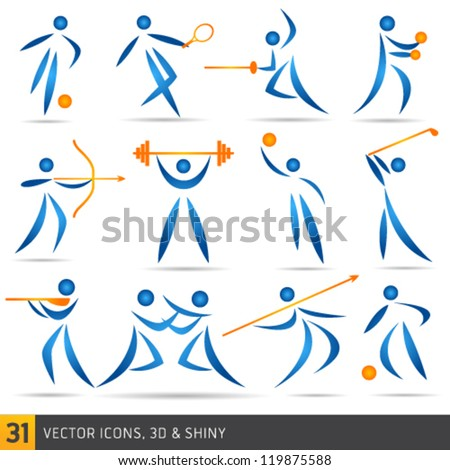 fitness elements and logos - stock vector