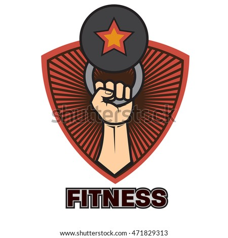 fitness emblems, labels, badges, logo design template
