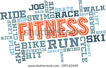 Fitness Exercise Word Cloud - stock vector