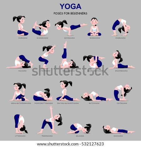 Fitness exercises with cartoon girl in blue and white suit isolated on gray background. Yoga Poses set with captions. Vector illustration.
