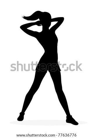 Fitness girl silhouette - stock vector