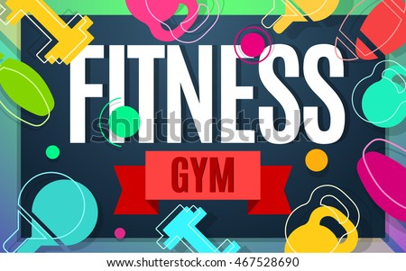 Fitness Gym Banner Color Design Vector Illustration Sport Template