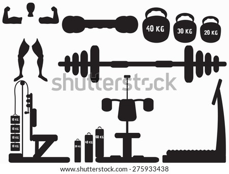 Fitness gym icons on a neutral background - stock vector