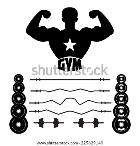 Fitness gym. Rod set. - stock vector