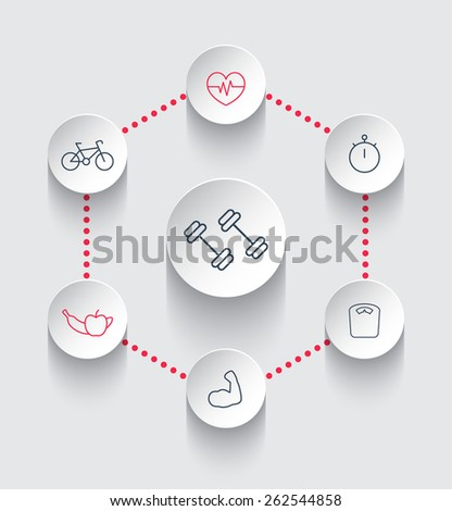 fitness, gym, training, workout, healthy lifestyle line round icons, vector illustration, eps10, easy to edit  - stock vector