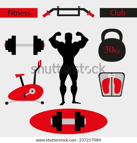 Fitness gym vector icons - stock vector