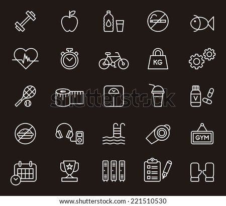 Fitness & Health Care icons - stock vector