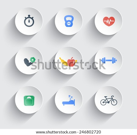 fitness, health, gym trendy color icons on circles with shadow vector illustration, eps10, easy to edit - stock vector