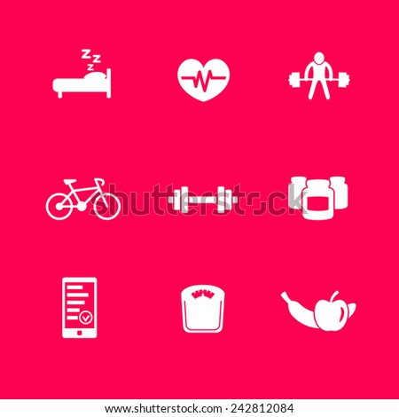 fitness, health icons set on purple vector illustration, eps10, easy to edit - stock vector