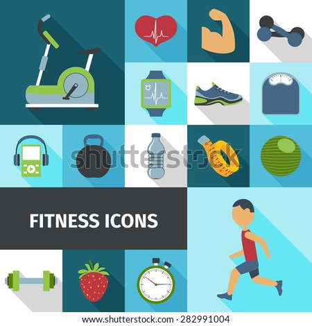 Fitness health life style activities and accessories flat icons set with stationary bicycle abstract isolated vector illustration - stock vector