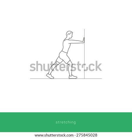 Fitness Icon doing stretching against the wall. Fitness instruction. To use for workout instructions. Vector and illustration design.