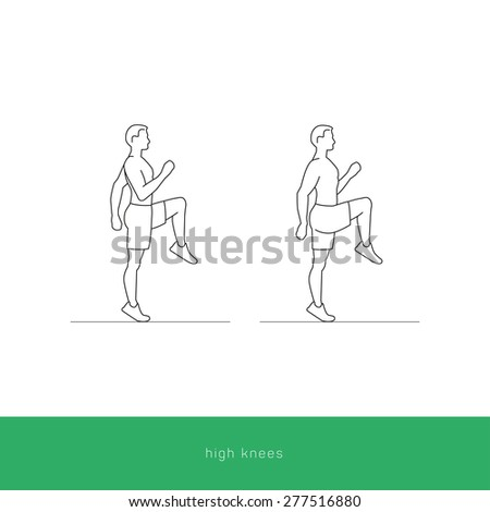 Fitness Icon doing the high knees workout. Fitness instruction. To use for workout instructions. Vector and illustration design. - stock vector