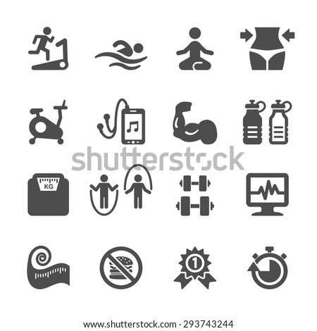 fitness icon set, vector eps10. - stock vector