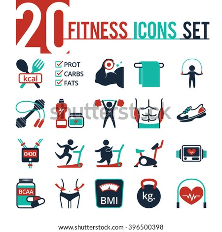 Fitness icon vector set - stock vector