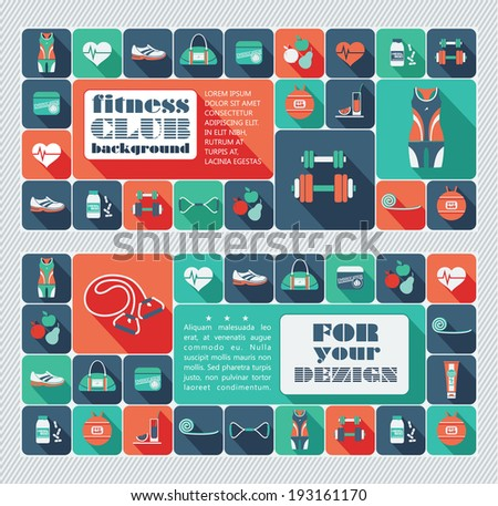 Fitness Icons background - stock vector