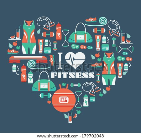 Fitness Icons background in heart shape - stock vector