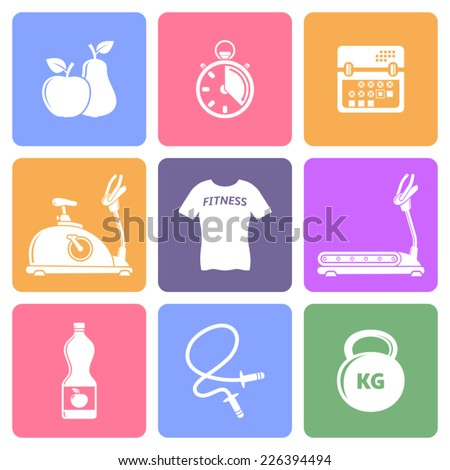 Fitness icons, flat design vector - stock vector