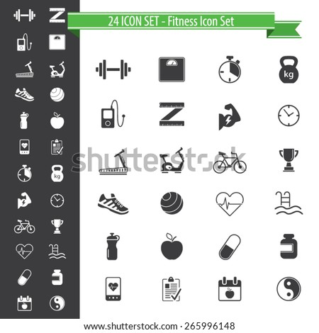 Fitness icons - 24 Icon Set - stock vector