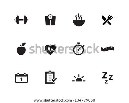 Fitness icons on white background. Vector illustration. - stock vector
